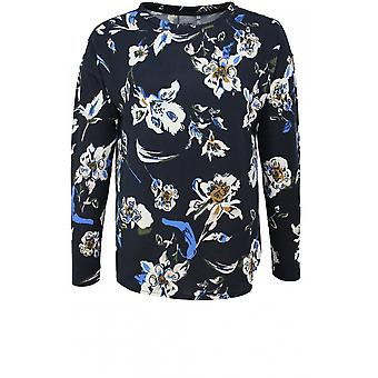 b.young Navy Fine Knit Floral Jumper