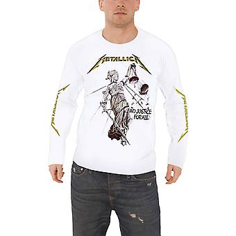 Metallica T Shirt And Justice For All Band Logo Official Mens White Long Sleeve