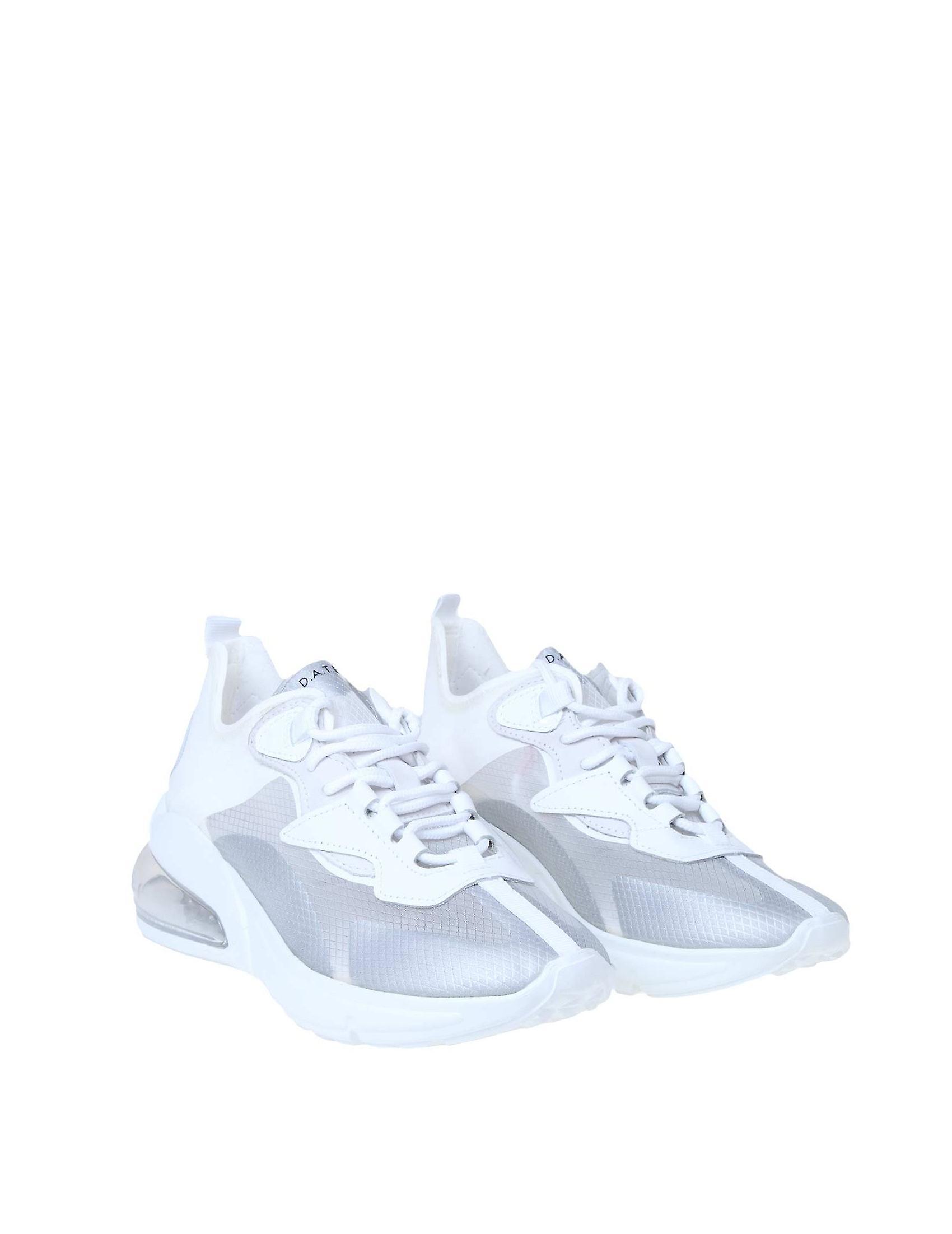 D.a.t.e. W321whtgrey Donne's White Fabric Sneakers