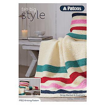 Patons Knitting Pattern - Fab Big Simple Knit - Blanket & Pillows