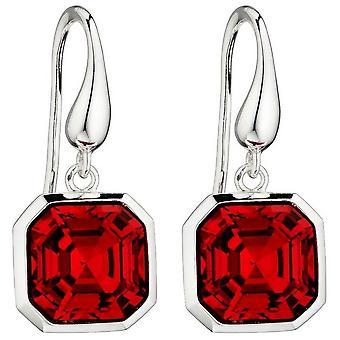 Elemente Silber Imperial Schnitt Ohrringe - Silber/Scarlet rot
