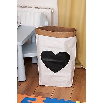 Cesta de coração Cor Branco, Preto em Placa Kraft, Vinil, L50xP15xA60 cm