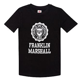 Boy's Franklin And Marshall Junior F and M Logo T-Shirt in Black