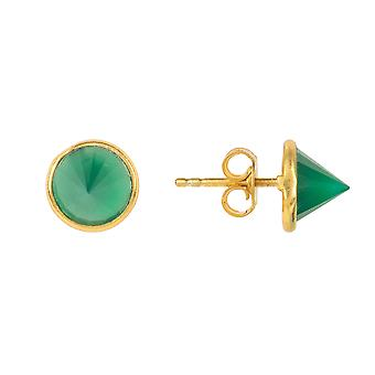 Gemstone Spike Studs Gold Green Onyx Small Gift Silver 925 Punk Petites boucles d'oreilles