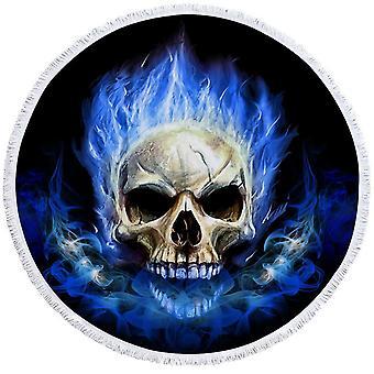 Blue Flames Skull Beach håndkle