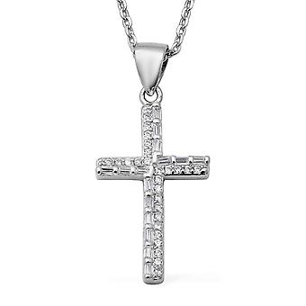 "Cross Cubic Zirconia CZ Necklace Women Silver Size 17"", 2.33 Ct Christmas Gift"