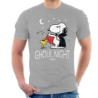 Pinda's Ghoul nacht snoopy & Woodstock mannen ' s T-shirt