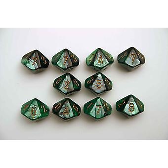 Chessex Gemini 10 x D10 Dice Set - Black-Green/gold