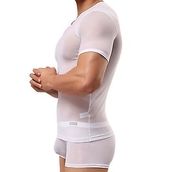 Miesten tiukka seksikäs läpinäkyvä sideharso t-paita