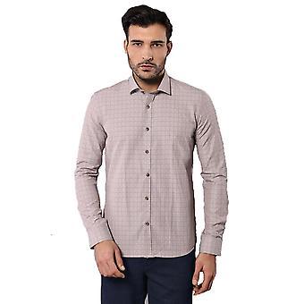Patroon slim fit beige shirt