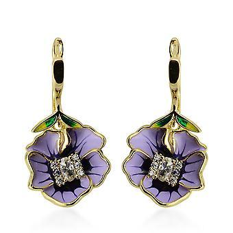 Simuleret Diamond Emaljerede blomsterøreringe med lås i guldfarve TJC