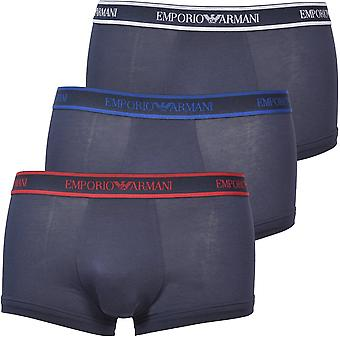 Emporio Armani 3-Pack Logoband Boxer Trunks, Navy