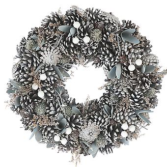 36cm Frosted Pinecone Wreath in a box Christmas Home Decoration