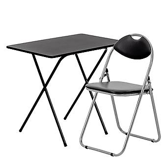 2 Piece Folding Desk and Chair Set - Wooden Top - Black/Black