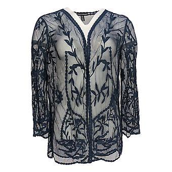 Nina Leonard Women's Sweater Floral Embroidery Mesh Topper Blue 703-746