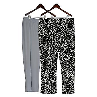 IMAN Global Chic Women's Plus Pants Printed 2-Pack Palazzo Black 685-966