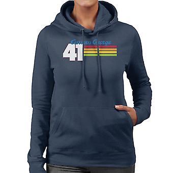 Neugierige George 41 Race Stripes Frauen's Kapuzen Sweatshirt