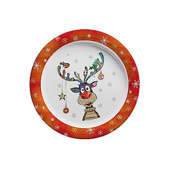 Joe Davies Kooks Xmas Party Plate Rudolf 9In BG0345