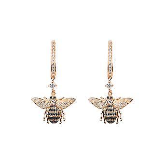 Honey Bee Pink Rose Gold Drop Earring CZ Gemstone Gift Statement Dangle Latelita