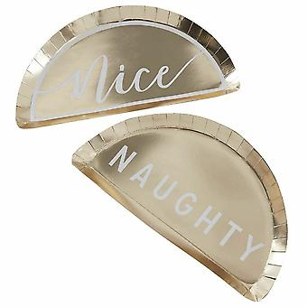 Naughty or Nice Gold Paper Party Plates - Christmas Tableware x 8