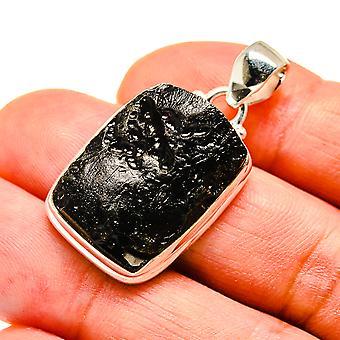 "Tektite 925 Sterling Silver Pendant 1 1/2""  - Handmade Boho Vintage Jewelry PD741714"