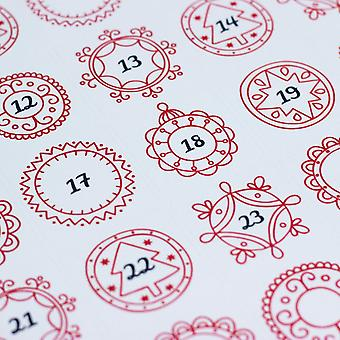 Red Ornate Advent Christmas Stickers x 35 Craft Single Sheet