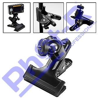"""Phot-r multi-function spring clamp with 1/4"""" screw ball head for dslr cameras"""