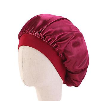 Kids Satin Bonnet Cap Solid Color Turban Chemo Hat