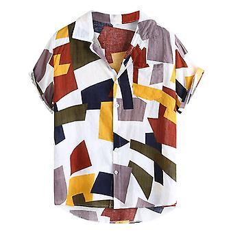 الرجال المطبوعة فضفاضة قصيرة الأكمام عارضة زر قميص