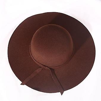 Toamna / iarna Fedora supradimensionate Moda Big Wool Hat Flat Top Wide Brim Hat