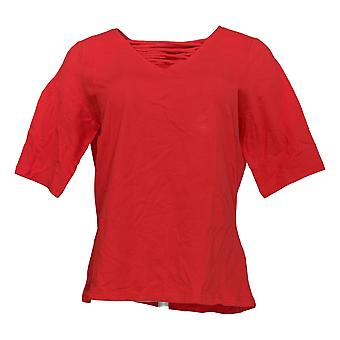 G.I.L.I. Got It Love It Women's Top Cut-Out V-Neck Knit Red A375516
