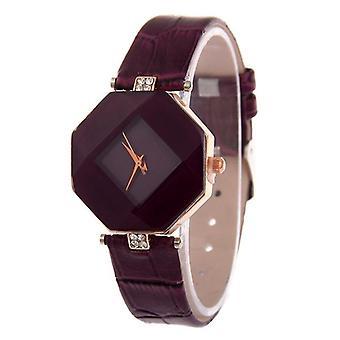 Gem geschnitten Geometrie Kristall Leder Quarz Armbanduhr Mode Kleid Uhr