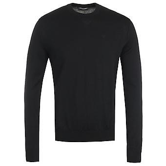 Emporio Armani Virgin Wool Black Crew Neck Sweater
