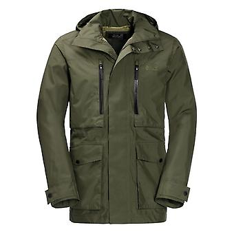 Jack Wolfskin Mens Field Port Hooded Jacket Zip Up Coat Green 1110251 5052