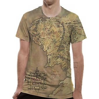 Lord Of The Rings Unisex Adults Middle Earth Map Design Sublimated T-shirt