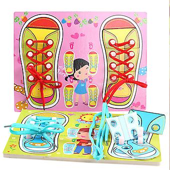 Children cartoon tying shoelaces