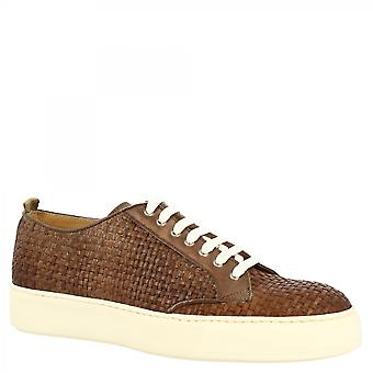 Leonardo Shoes Men's käsintehdyt pitsikengät lenkkarit kengät taupe kudottu vasikannahka valkoinen pohja