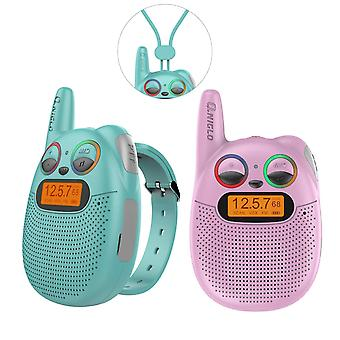 Qniglo rechargeable kids walkie-talkies with fm radio, 2 miles range, twinkling led eyes, wearable w