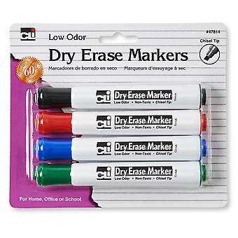 Dry Erase Markers, Barrel Style, Low Odor, Chisel Tip, Assorted Colors, Pack Of 4