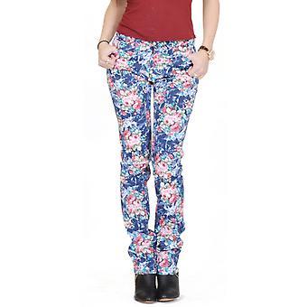 Flor Floral Impresión Jeans Slim Fit - Azul