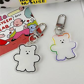 Κινούμενα σχέδια χαριτωμένο διαφανές gummy αρκούδα pvc keychain κλειδί δαχτυλίδι