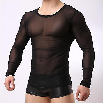 Male Sexy Transparent Shirt/underwear&shirt  See Through Sheer Long Sleeves T