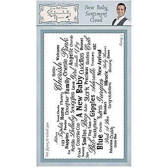 Sentimentally Yours New Baby Sentiment Cloud Rubber Stamp