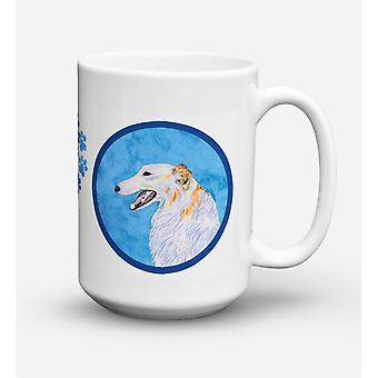 Caroline's Treasures SS4751-BU-CM15 Borzoi Dishwasher Safe Microwavable Ceramic Coffee Mug, 15 oz, Multicolor