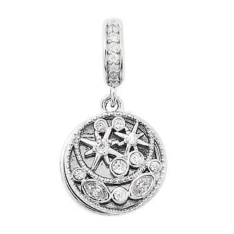 Charmes De Memoire Gesimuleerde Diamond Cluster Charm Rhodium Plated Silver Charm