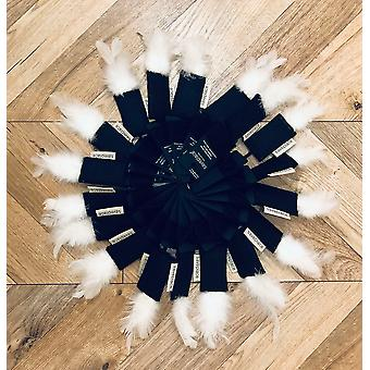 Saveplace® Woolen Black Cat Toy With White Feathers - Snow
