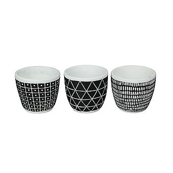 Set of 3 Black and White Ceramic Geometric Pattern Planter Pots 4.75 Inches High