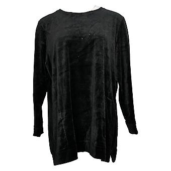 Denim & Co. Mulheres e apos;s Top Velour Long Sleeve Tunic with Pocket Black A390299