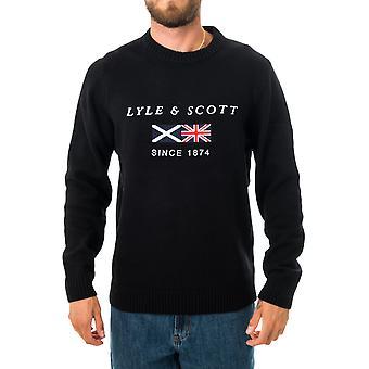 Sweat-shirt homme lyle & scott drapeau tricoté brodé kn1343v.572
