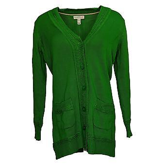 Isaac Mizrahi En direct! Women's Sweater Button Front Cardigan Vert A390248
